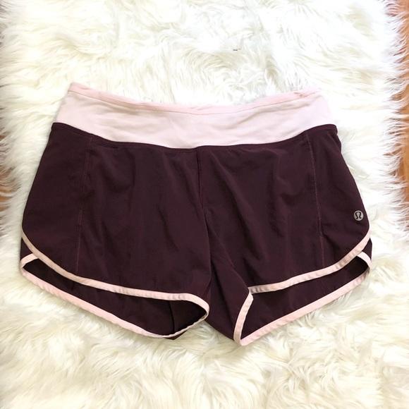 Lululemon Maroon And Light Pink Speed Shorts by Lululemon Athletica